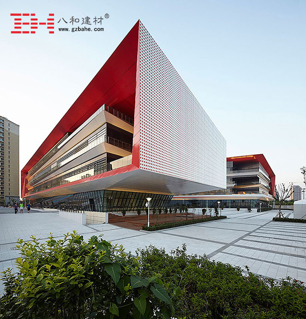 Curtain Wall Aluminum Cladding Panel and aluminum veneer ceiling decoration Tianjin Binhai High School