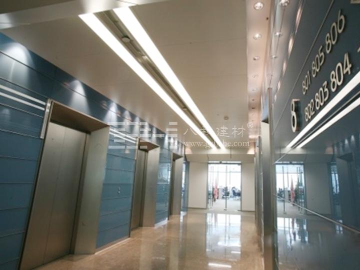 行业特点: 现代风格的办公楼电梯间会经常采用一些精致的装扮,吸引着人的关注。电梯间的吊顶造型设计,选用铝单板吊顶配合灯槽的设计具有层次感。 电梯间吊顶的独特设计,选择结构灵活、安装方便的铝单板吊顶材料,在灯光的衬托效果下不仅能美化室内环境,还能营造出丰富多彩的室内空间艺术形象。 应用案例: