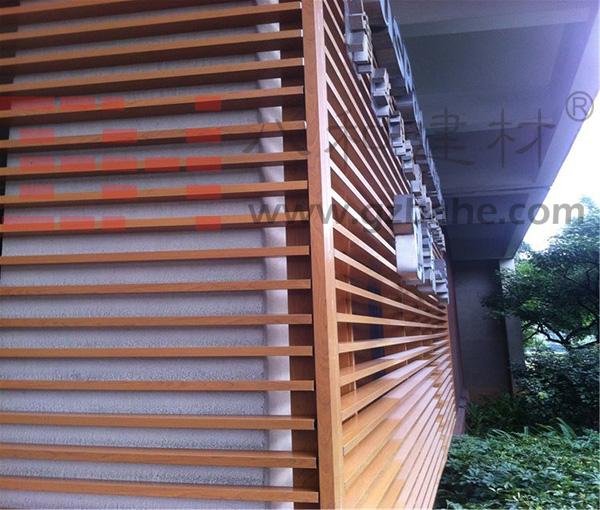 Retro Cafe Exterior Design - Wood Grain Aluminum Square Tube Decoration Charm