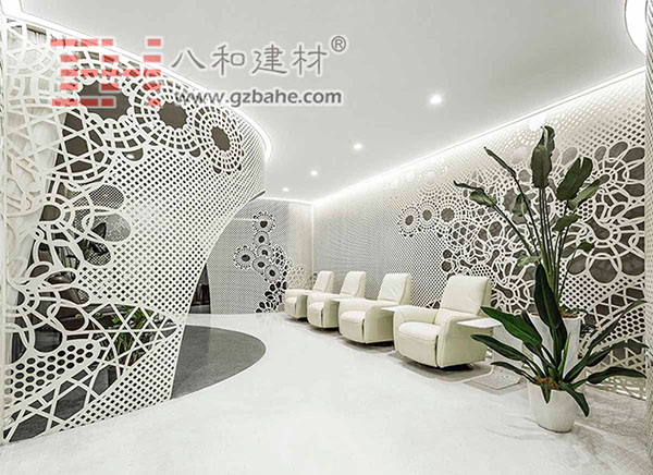 Hollow Curved Aluminum Plate Decoration LILY Nails Salon