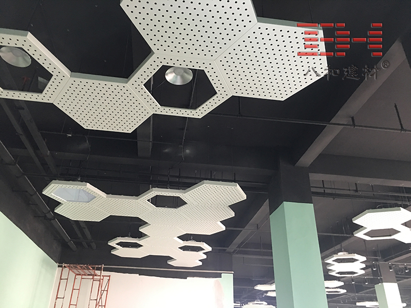 Foshan Biological Hospital Exhibition Hall Perforated Hexagonal Aluminum Veneer