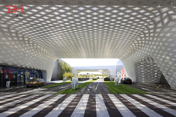 Perforated Aluminum Veneer In The Shopping Center