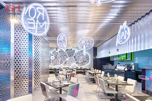 Anodized Aluminum Veneer Products Create A Stylish Restaurant