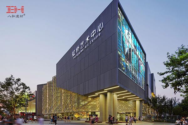 上海虹桥艺术中心的铝金属拉伸网幕墙和铝金属拉伸网天花吊顶