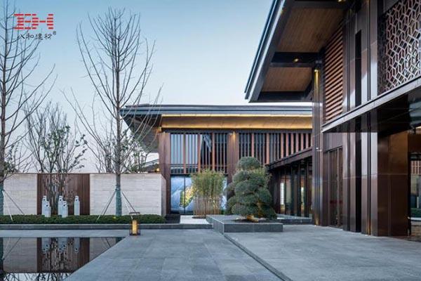 仿木纹铝方通、仿木纹铝板在中式院落建筑上的应用—合肥金科·半岛壹号