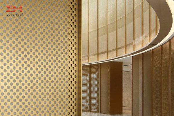 冲孔铝单板的透明立面架构,天津融创星耀五洲售楼处