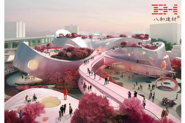 台湾桃园市立美术馆竞标方案,利用铝板立面映盛世桃色
